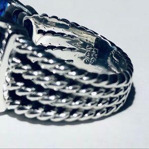 David Yurman Blue Topaz Wheaton Ring w/ Diamonds